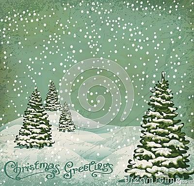 Vector vintage postcard Christmas