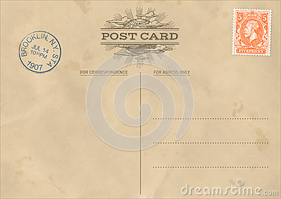 Vector vintage postcard template stock vector image for Back of postcard template photoshop