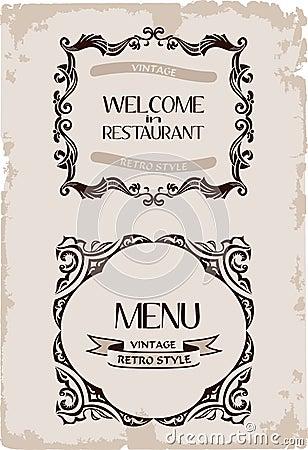 Vector vintage restaurant retro frame paper