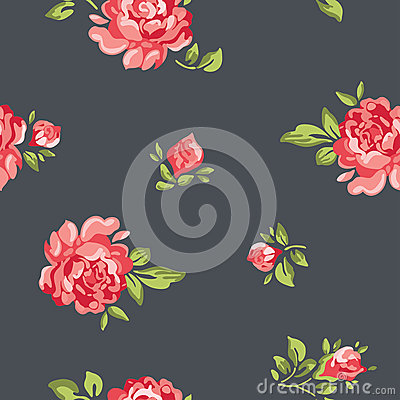 Free Vector Vintage Seamless Floral Pattern Wallpaper With Colorful Roses Royalty Free Stock Photos - 48601598