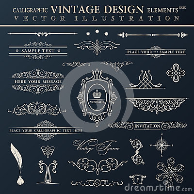 Free Vector Vintage Set. Calligraphic Elements And Page Decoration Pr Royalty Free Stock Image - 44283946