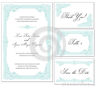 Vector Vintage Wedding Frame Set