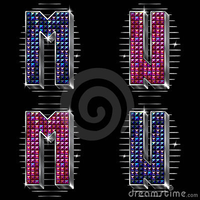Vector volume letters M,N with shiny rhinestones