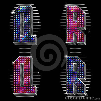 Vector volume letters Q,R with shiny rhinestones