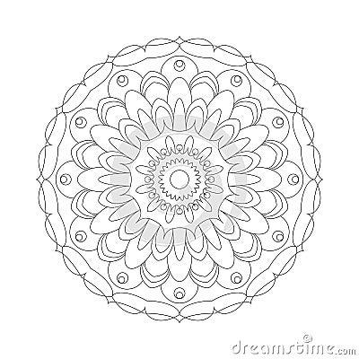 Vector volwassen kleurende zwart witte mandala abstracte bloem van het boek cirkelpatroon - Deco slaapkamer volwassene ...