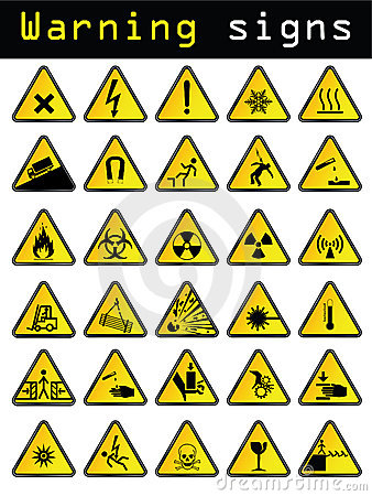 Free Vector Warning Signs Royalty Free Stock Photos - 13002508