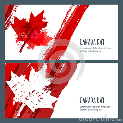 Free Vector Watercolor Banners And Backgrounds. 1st Of July, Happy Canada Day. Watercolor Hand Drawn Canadian Flag With Maple Leaf. Royalty Free Stock Images - 73394099