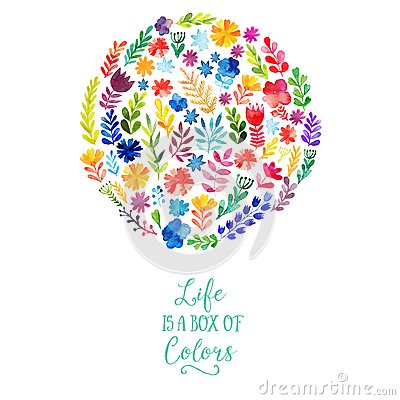 Free Vector Watercolor Circle Design Made Of Flowers. Botanical Decoration, Lettering. Floral Card With Copy Space Royalty Free Stock Photos - 49599468