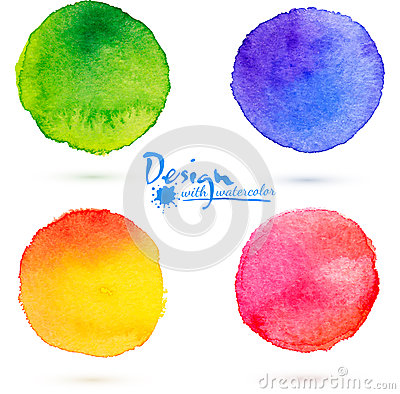 Free Vector Watercolor Circle Splashes Set Royalty Free Stock Images - 35879429