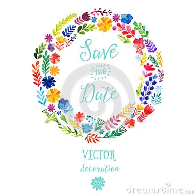 Free Vector Watercolor Colorful Circular Floral Wreaths With Summer Flowers And Central White Copyspace For Your Text. Vector Handdrawn Stock Photo - 49599020