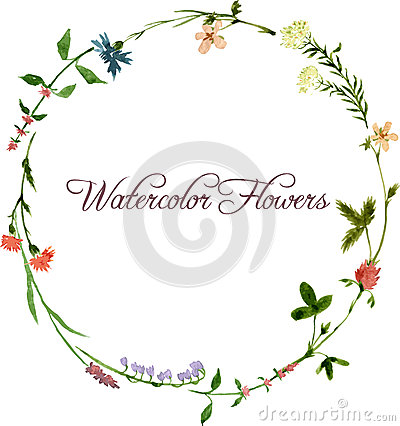 Free Vector Watercolor Floral Frame Royalty Free Stock Photography - 51517647
