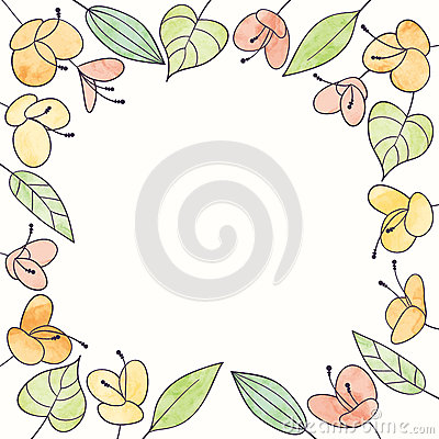 Free Vector Watercolor Flower Frame. Hand Draw Floral Illustration Royalty Free Stock Photography - 63448897