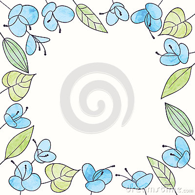 Free Vector Watercolor Flower Frame. Hand Draw Floral Illustration Stock Photography - 63449072