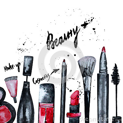 Free Vector Watercolor Glamorous Make Up Set Of  Cosmetics With Nail Polish And Lipstick.Creative Design For Card, Web Design Backgroun Stock Photos - 56406593