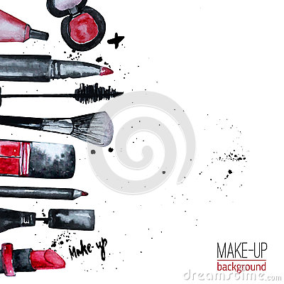 Free Vector Watercolor Glamorous Make Up Set Of  Cosmetics With Nail Polish And Lipstick.Creative Design For Card, Web Design Backgroun Royalty Free Stock Images - 56406949