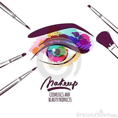 Free Vector Watercolor Hand Drawn Illustration Of Colorful Womens Eye And Makeup Brushes. Royalty Free Stock Photo - 66678545