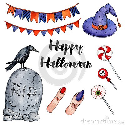 Vector watercolor illustration for Happy Halloween 3 Vector Illustration