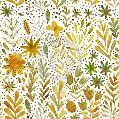 Free Vector Watercolor Pattern, Floral Texture With Hand Drawn Flowers And Plants. Floral Ornament. Original Floral Background. Stock Image - 49598911