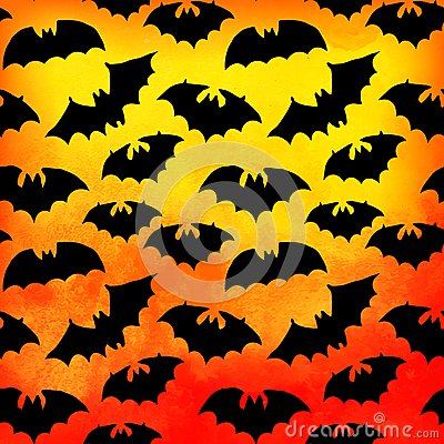 Free Vector Watercolor Pattern With Bats, Halloween Background. (only Layer With Bats Is Seamless). Seamless Halloween Background. Royalty Free Stock Image - 49598966
