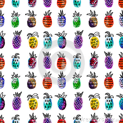 Free Vector Watercolor Seamless Pattern With Colorful Rainbow Pinapple And Black Hand-drawn Elements. On White Background Stock Photography - 79977872