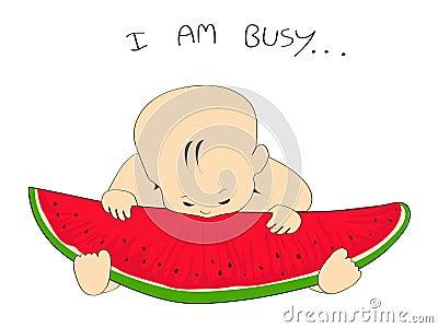 vector watermelon slice & baby