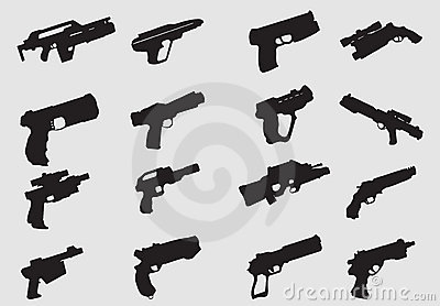 Vector of weapon silhouettes