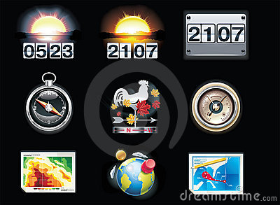Vector Weather Forecast Icons. Part 4 Royalty Free Stock Photos - Image: 15279778