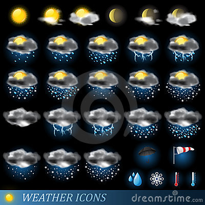 Free Vector Weather Icons Set Stock Photo - 18821990