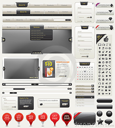 Free Vector Web Design Elements Royalty Free Stock Image - 19450306