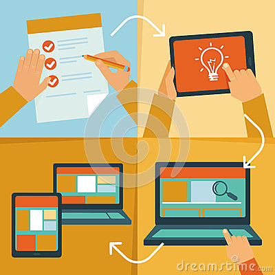 Free Vector Web Design Process Stock Image - 34117491