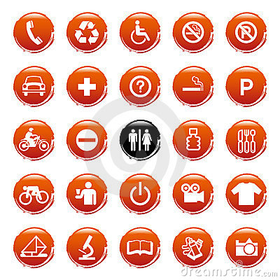 Vector Web icons, buttons. Round series