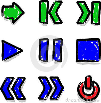 Vector web icons marker colour contour play