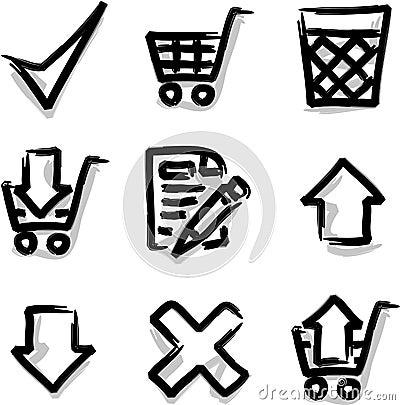 Vector web icons marker contour shop