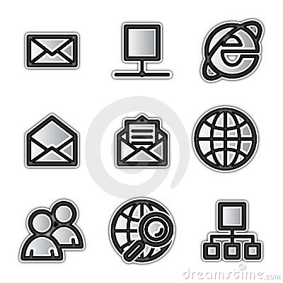 Vector web icons, silver contour internet