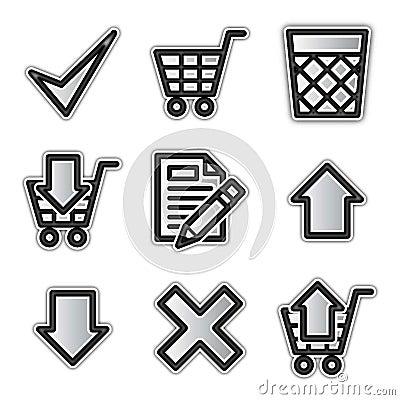Vector web icons, silver contour shop