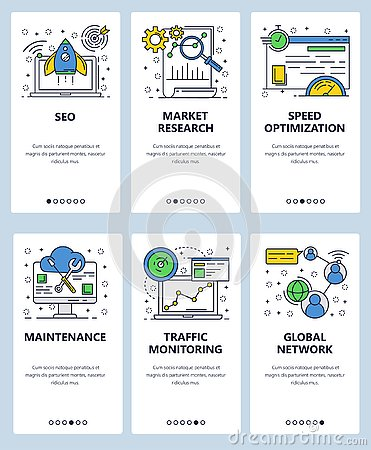 Free Vector Web Linear Art Onboarding Screens Template. SEO And Digital Marketing, Website Loading Speed Optimization And Royalty Free Stock Image - 130178716