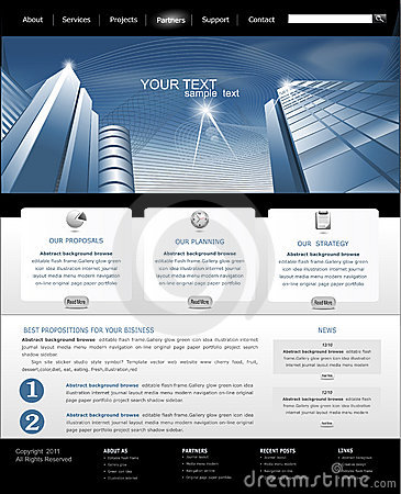Vector web site  with building for business