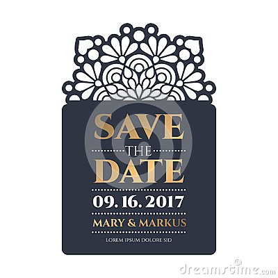 Free Vector Wedding Card Laser Cut Template Royalty Free Stock Images - 99870669