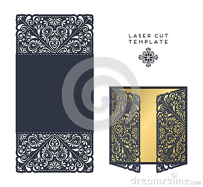 Vector wedding card laser cut template Vector Illustration