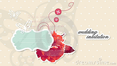 Vector wedding invitation scrapbooking card