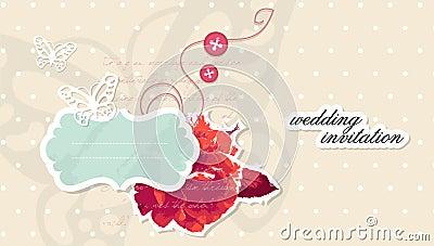 Vector wedding invitation scrapbooking card