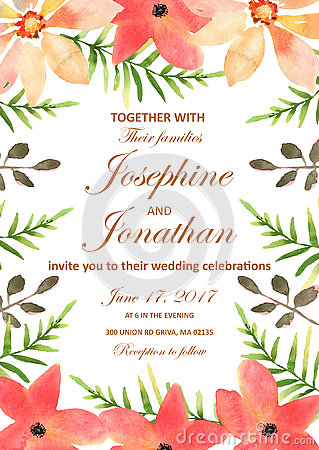Free Vector Wedding Invitation With Floral Background. Hand Drawn Wat Stock Photography - 80994332