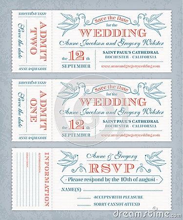 Vector Wedding Invite Tickets