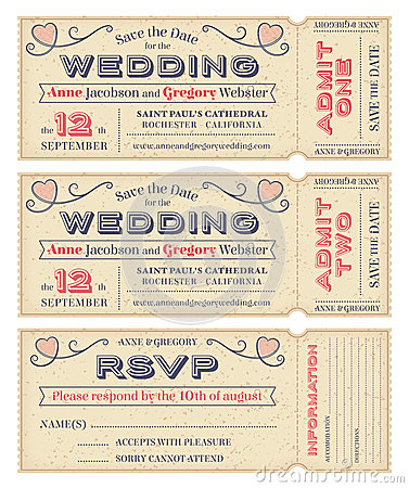 Vector Wedding Invite Tickets Royalty Free Stock Images   Image: 38322449  Free Printable Ticket Style Invitations
