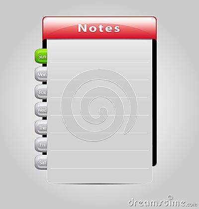 Vector week notes template