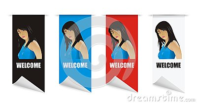 Vector welcome banner girl