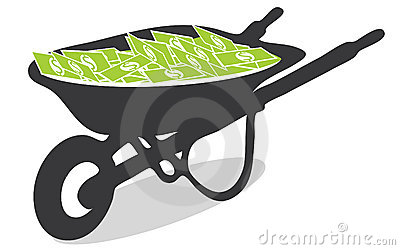 Vector Wheelbarrow Full of Cash