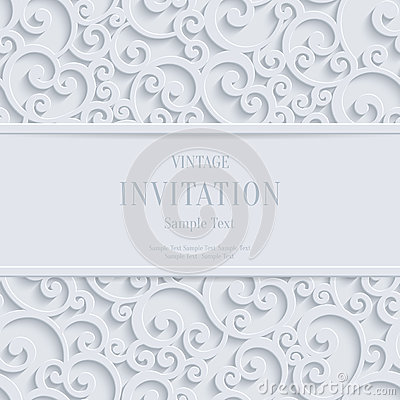 Free Vector White 3d Vintage Christmas Or Invitation Cards Background With Swirl Damask Pattern Royalty Free Stock Photo - 60746135