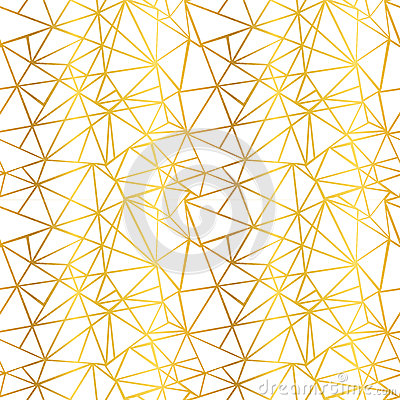 Free Vector White And Gold Foil Wire Geometric Mosaic Triangles Repeat Seamless Pattern Background. Can Be Used For Fabric Stock Photography - 90317722