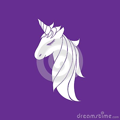 Vector white colorless unicorn beautiful for girls, layout for coloring and design. head of a unicorn with a horn and mane Stock Photo